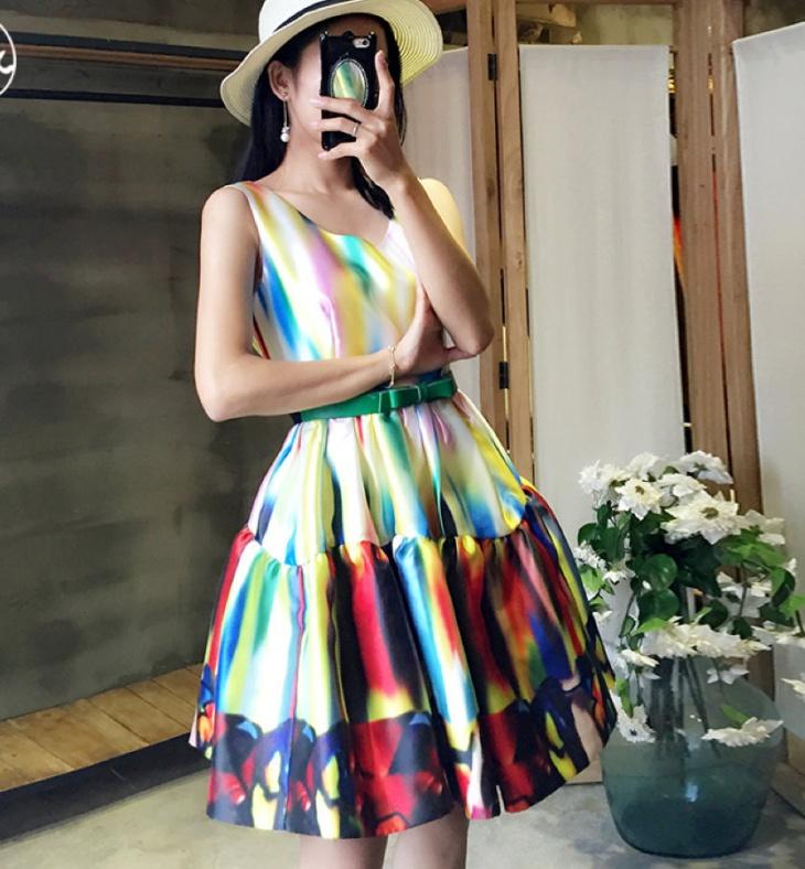rainbow print bubble dress