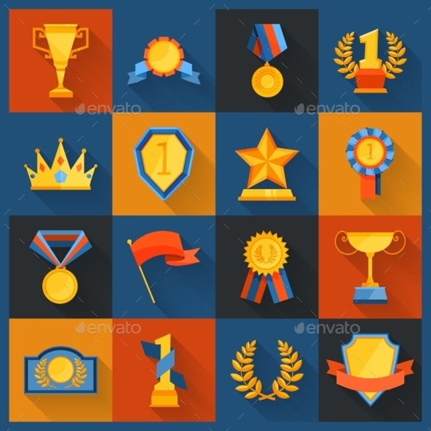 Award Icons Set in Flat Style