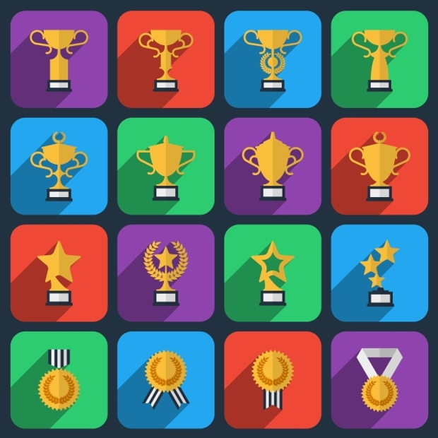 Winner Trophy and Award Icons Set