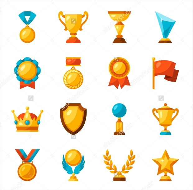 Sport Or Business Trophy Award Icons Set