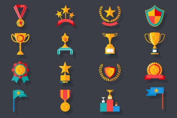 Victory Trophy Awards Icons Set