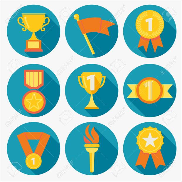 flat round award icons