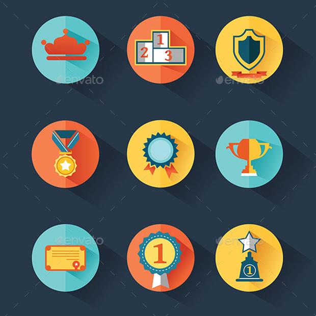 colorful flat award icons