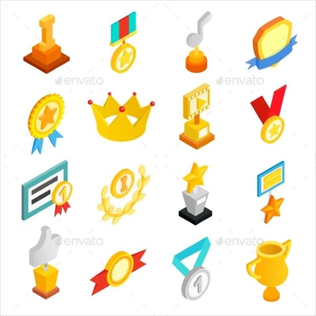trophy award icon set