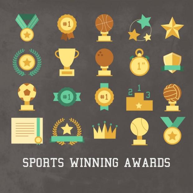 sport winning award icon set