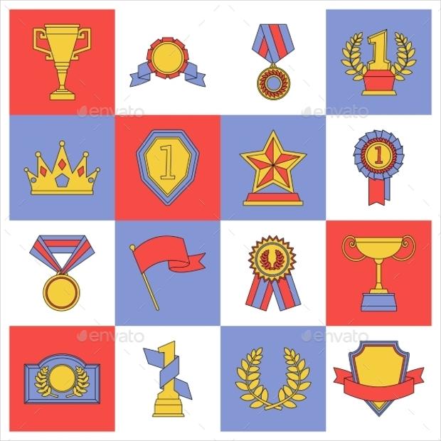 flat line award icons