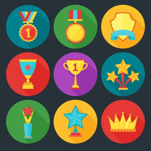 free award icon set