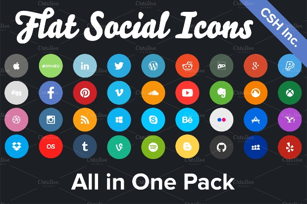 flat rounded social media icons