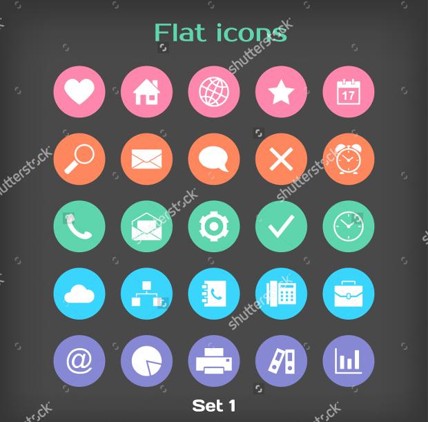 Flat Round Icon Set