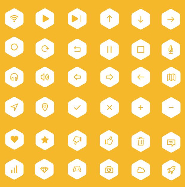 Round Hexagon Icons