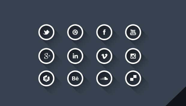 social media round long shadow icons