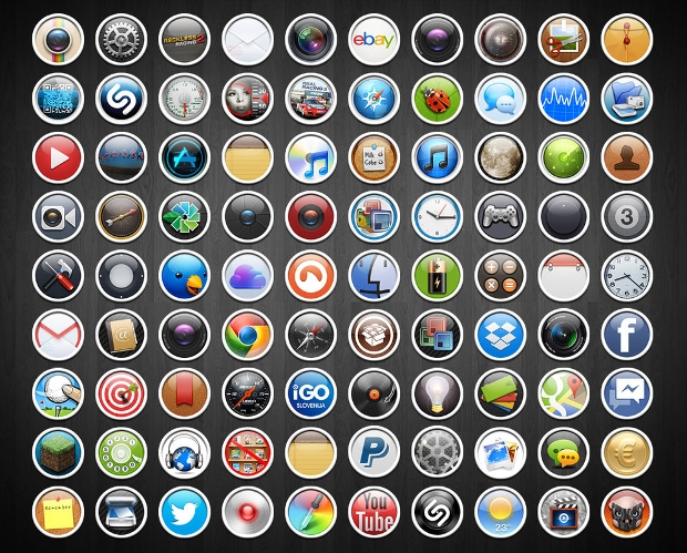 iphone round icon set
