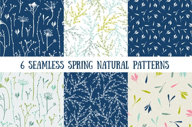 natural spring seamless patterns