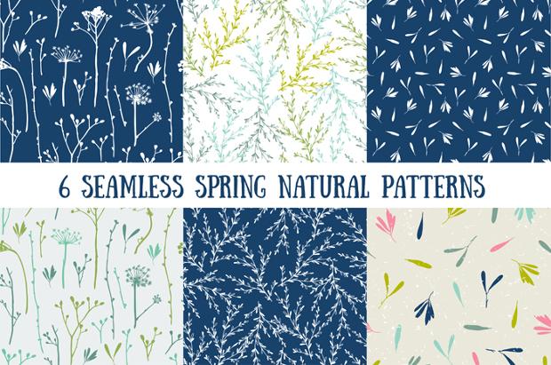 Natural spring seamless patterns