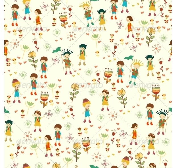 bright nature seamless pattern in cartoon style