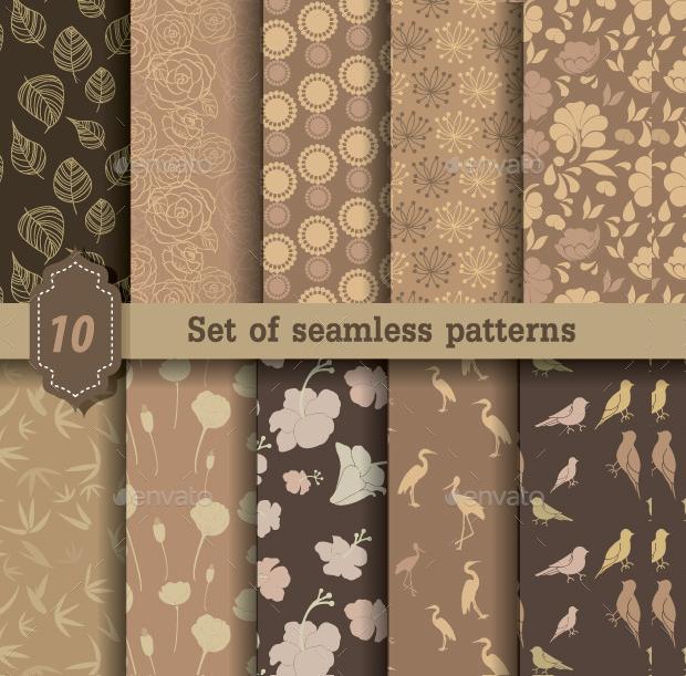 Nature Style Seamless Patterns
