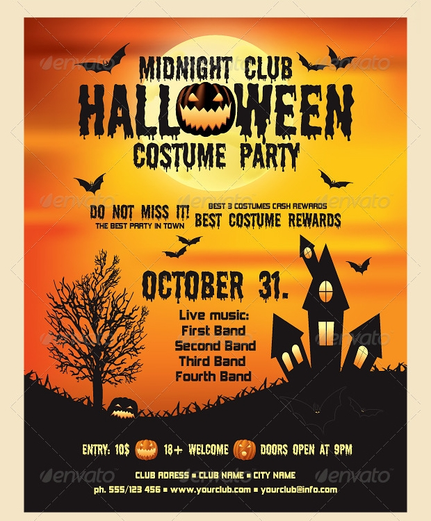 21 halloween flyer designs and templates download for Free halloween flyer templates