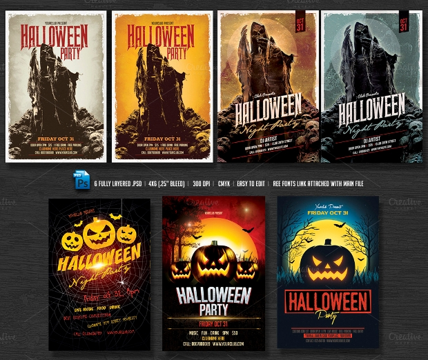 Photorealistic Halloween Flyer Bundle