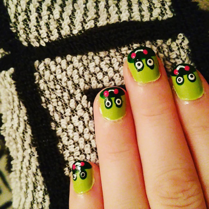 frog nail art for short nails