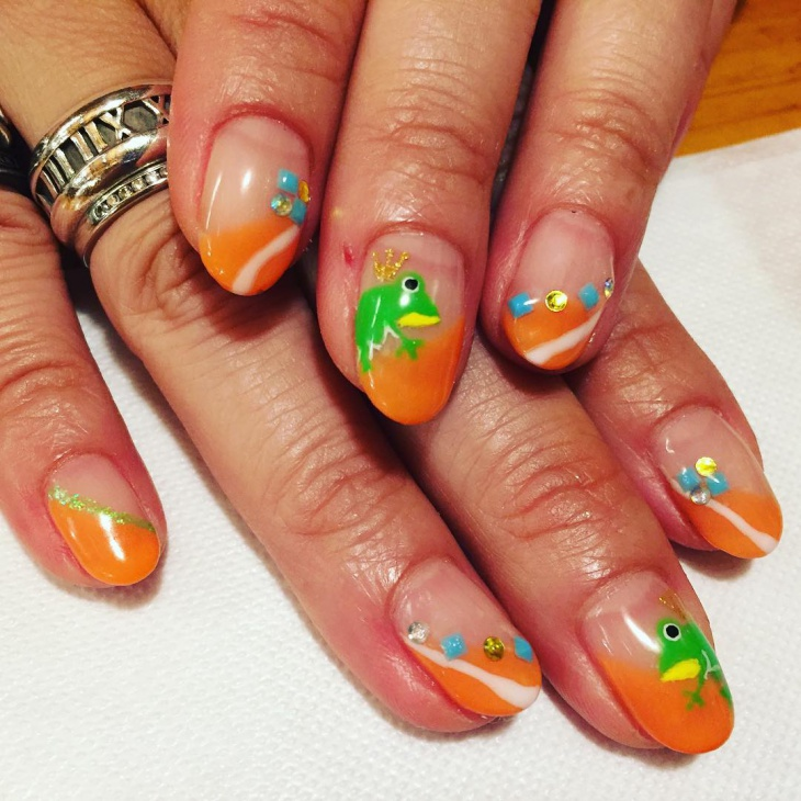 Orange Frong Nail Art