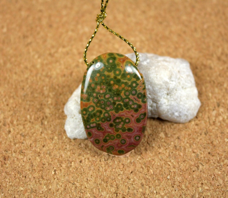 pink and green oval pendant
