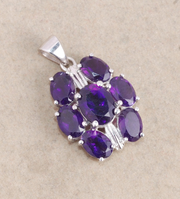 Purple Gemstone Oval Pendant