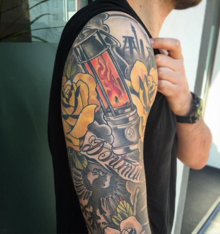 mining lamp tattoo design