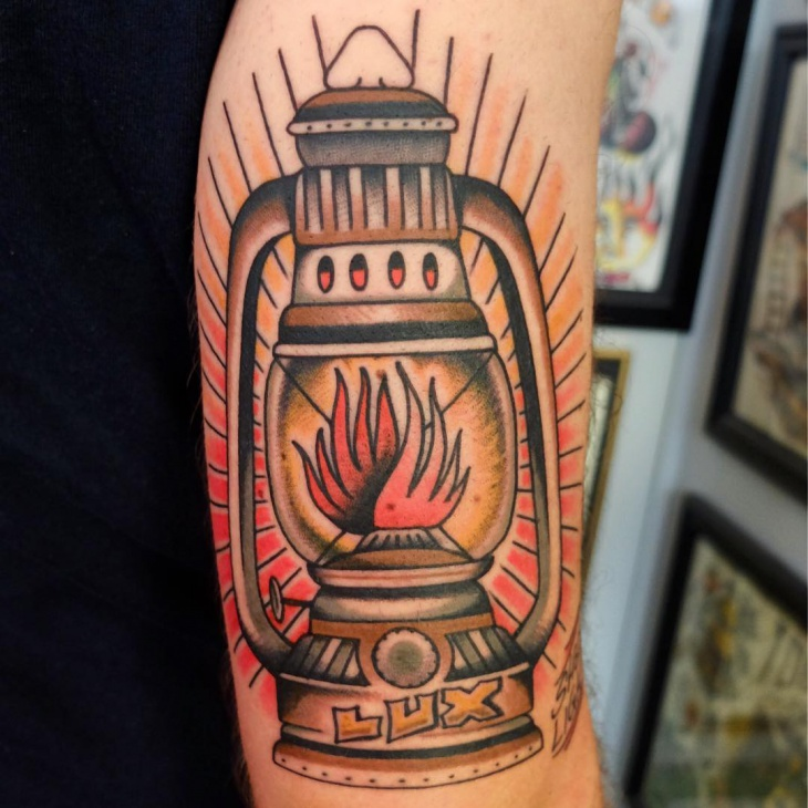 Traditional Lamp Tattoo on sleeve
