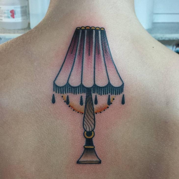 victorian lamp tattoo design