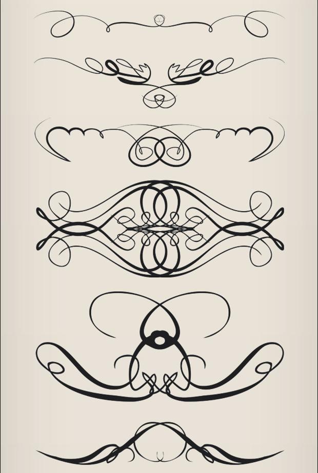 swirl ornament brushes