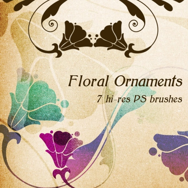 High Resolution Floral Ornament Brushes