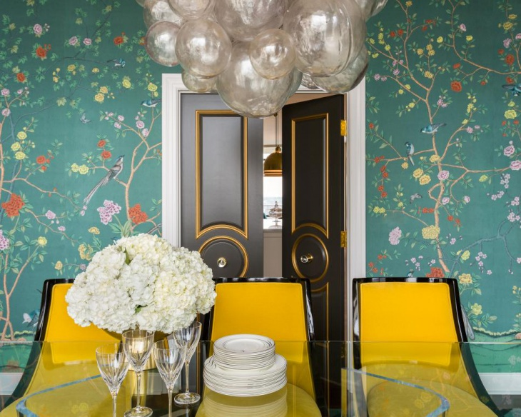 Dining Room Green Floral Wallpaper