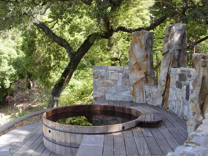 rustic wooden garden deck