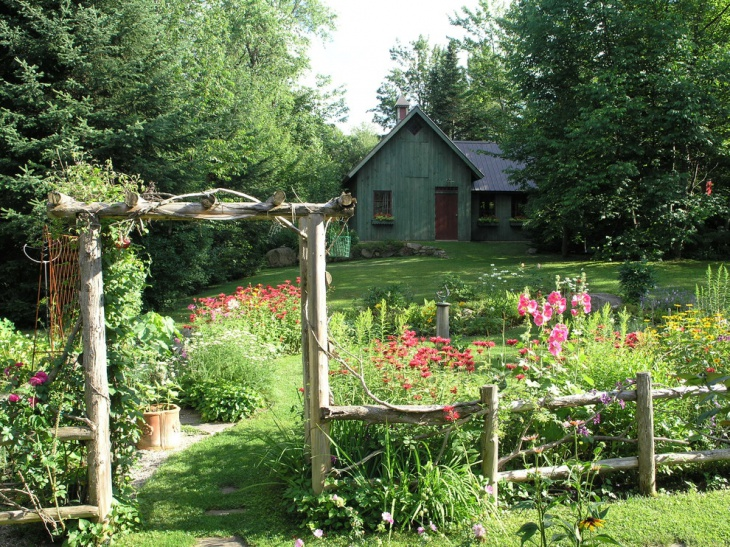 Rustic Garden Log Fence