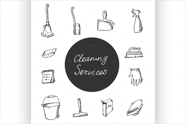 cleaning service doodle icon set