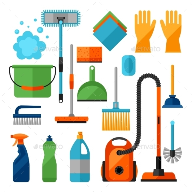 housekeeping cleaning icons set