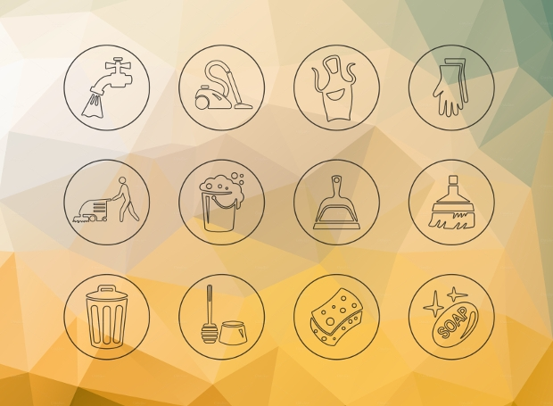 colorful cleaning icons