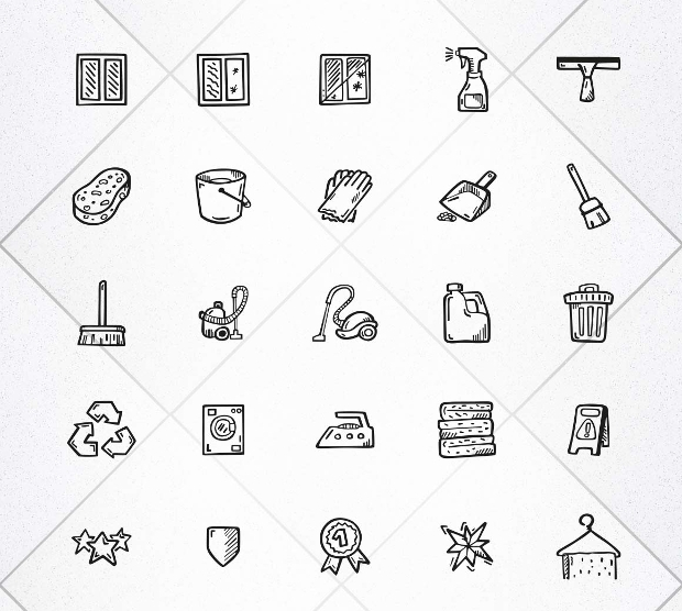 hand drawn cleaning icons