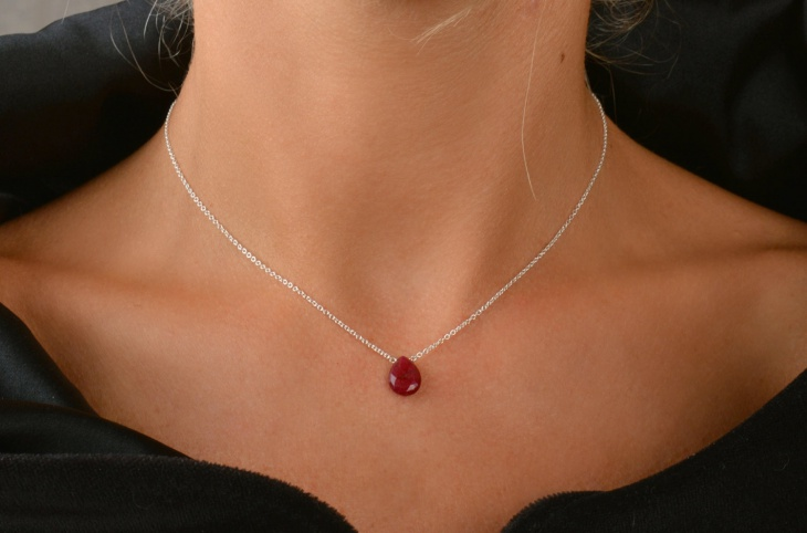 genuine ruby drop pendant