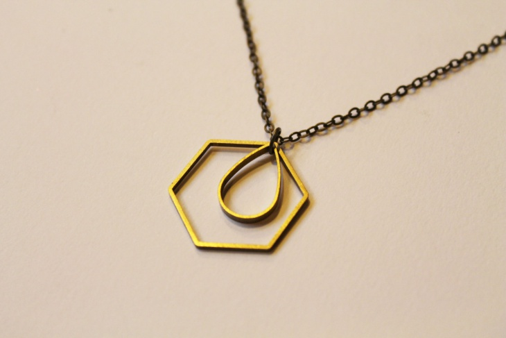 hexagon and tear drop pendant