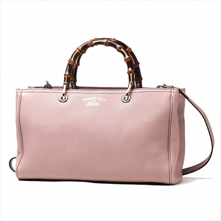 Pink Leather Bamboo Bag