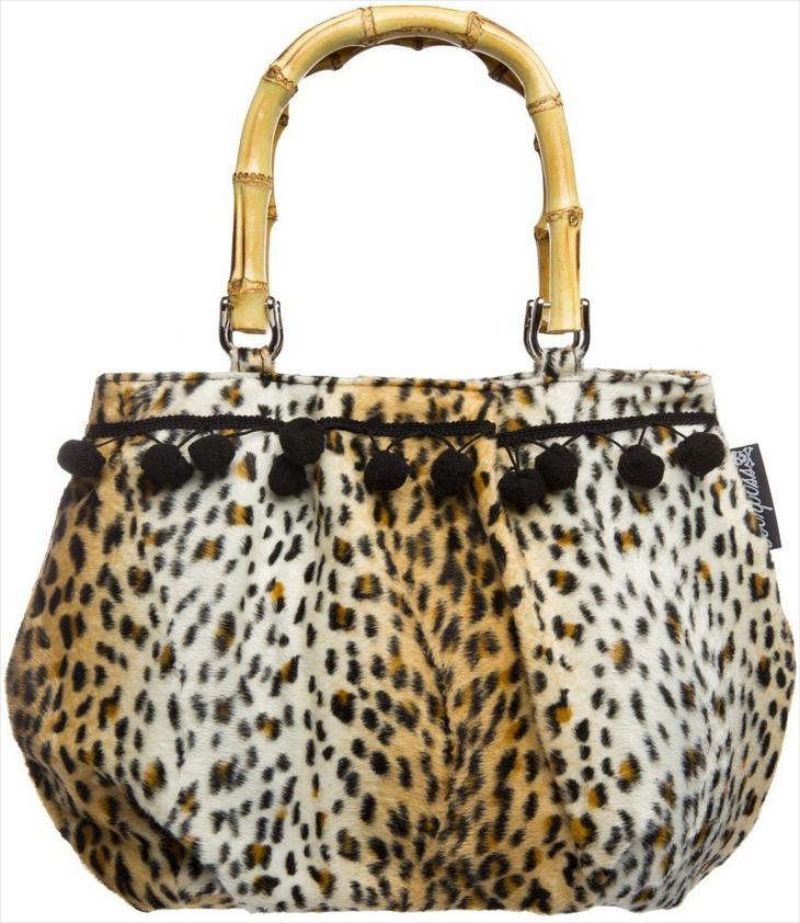 cheetah print bamboo handle bag