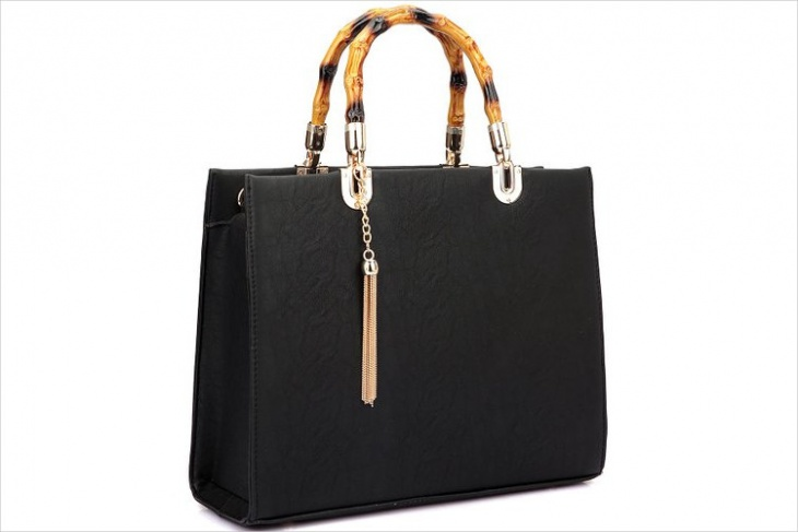 Black Leather Bamboo Bag