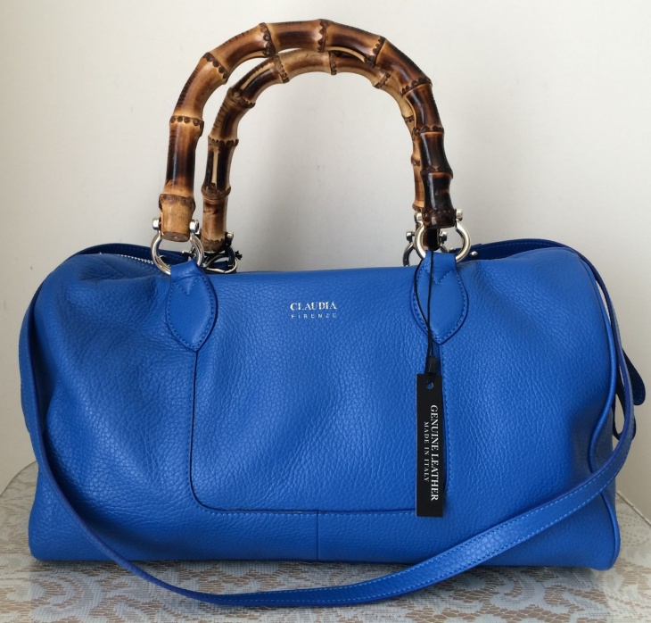 royal blue bamboo handle bag