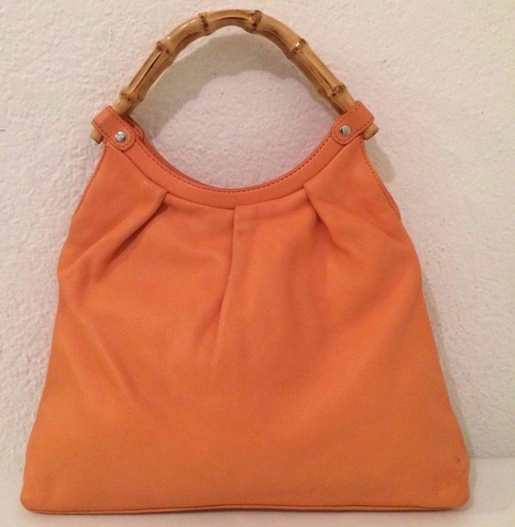 orange leather bamboo bag