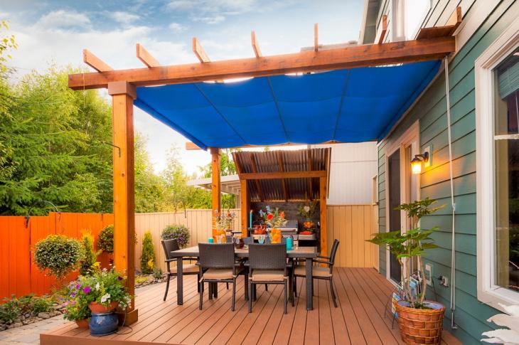 traditional wood deck pergola