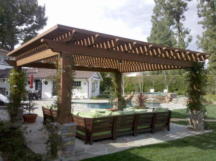 poolside wooden pergola design