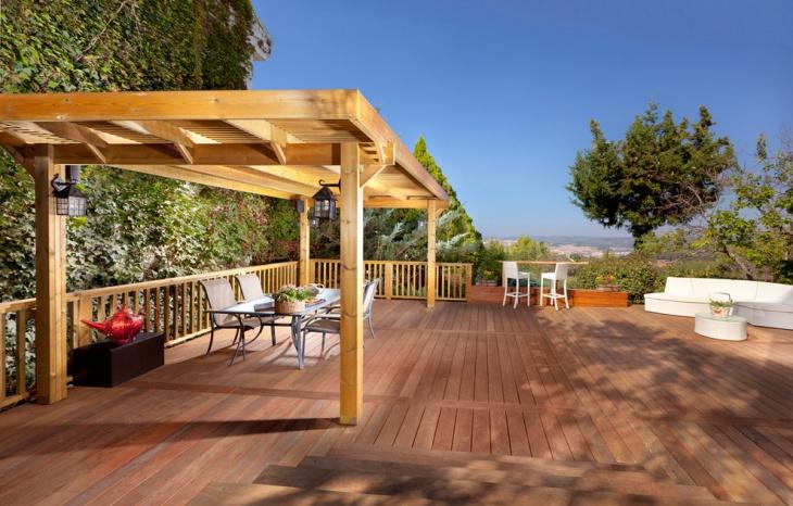 exterior wood deck pergola design