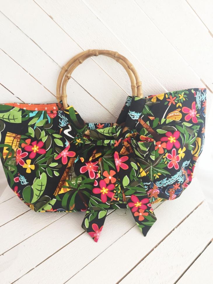 Floral Print Bamboo Handbag