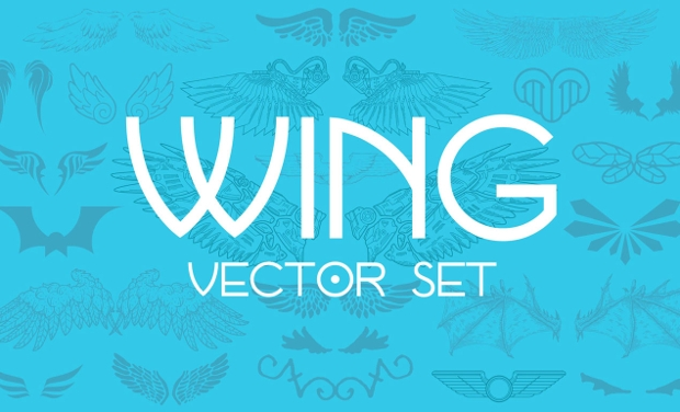 Colorful Wings Vector Set